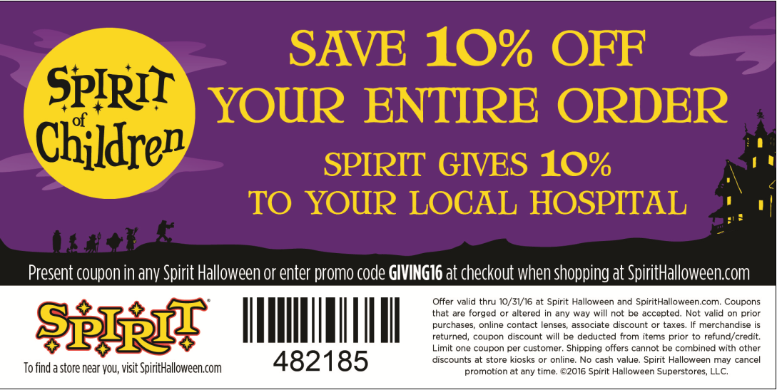 shop at south bay spirit halloween stores or online with the promo code giving16